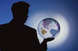 man with globe